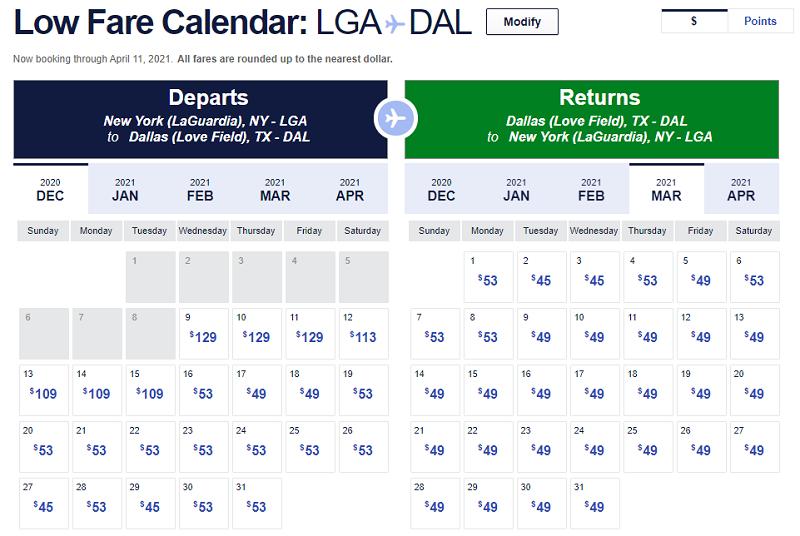 southwest airlines low fare calendar