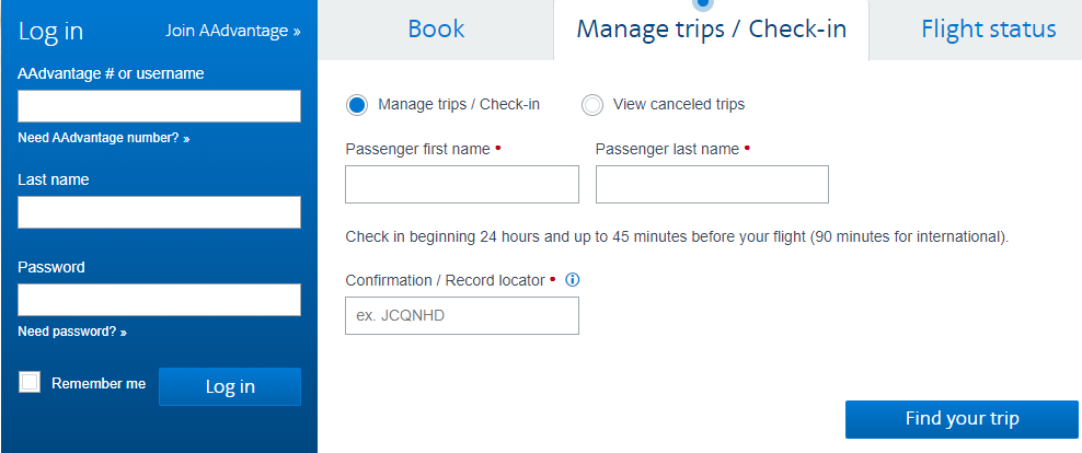 American Airlines Manage Trip